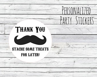 Thank You Mustache Baby Shower, Envelope Stickers, 1st Birthday, Birthday Party Favor, Stickers Labels Stache Treats for later