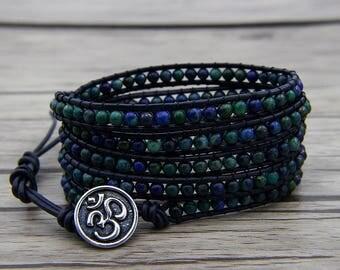 Leather wrap bracelet lapis lazuli beads bracelet Navy blue bracelet Chrysocolla beads bracelet boho bracelet Gyspy bracelet BOHO SL-0577