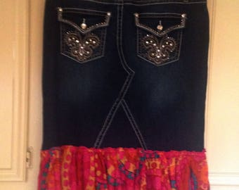 Hippy clothes/Upcycled jean skirt/ Jean skirt Embellished/Skirt/ Hippy/Gypsy wear/ jean skirt/ Boho Chic fashion/Festival Wear