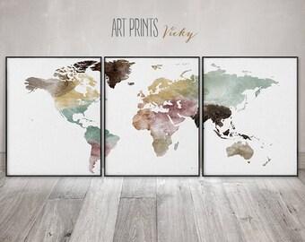 World map set of 3 prints, world map wall art by ArtPrintsVicky