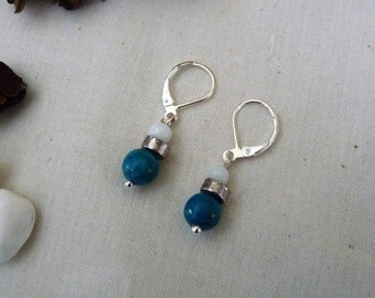 White and turquoise beads (Silver 925) earrings