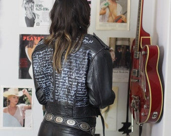 Custom Vintage Hand-Painted Cropped Leather Moto Jacket