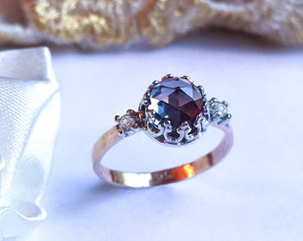 Rare Alexandrite & Diamond ring, 9ct solid gold Alexandrite ring, Engagement ring, Crown ring, Diamond handcrafted ring.