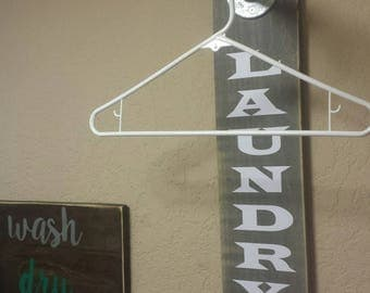 Laundry Room Sign - Clothing Rack - Laundry Room Organization - Laundry Pipe Rack - Rustic Clothing Dry Rack