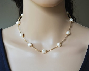 Golden Rosebud Freshwater Pearl Necklace - Gold Blush White Granulated Pearl Necklace with Handcrafted 14K Gold Filled Chain