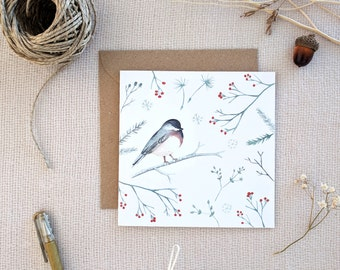 Christmas Cards, Robin Greeting Card, Watercolor cards with envelope, Holiday Greeting Card, Holiday Card, Xmas Card, Boxed Christmas Cards