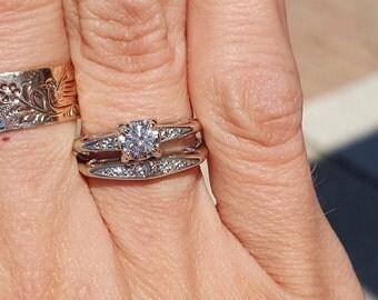 Vintage M CO 14k White Gold Diamond Wedding Set