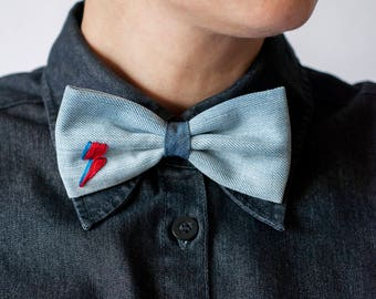 Denim Bow Tie and Headband, Bow Ties, Mens Bowties, Wedding bow tie, bow tie for men, Valentines Day Gifts, mens tie