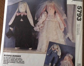 Bridal clothes for cloth bunnies, bridal gown for bunny, tuxedo for bunny,