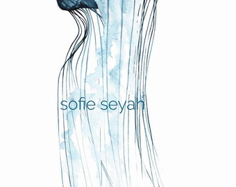 Indigo Jellyfish - Sofie Seyah Illustration - Watercolour and Ink - Greeting Card