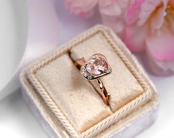 Peach Sapphire Engagement Ring-18 ct Rose Gold Peach Sapphire Ring-Peach Sapphire Diamond Twig Engagement Ring-Twig Engagement Ring
