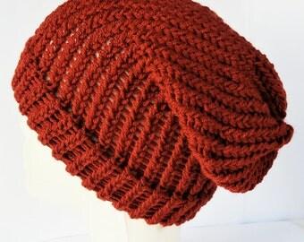 Orange slouchy beanie, grunge beanie, boho knit beanie, vegan hats, orange beanie, dreads beanie, ladies hats, rasta beanie, festival wear