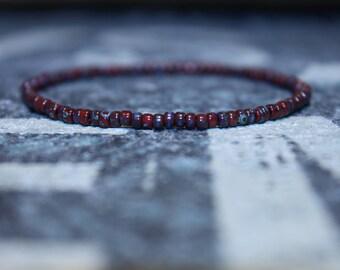 Kabbalah Red String - Red Men's Beaded Bracelet - Seed Beaded Bracelets, Mens gift for him Husband Gift , Mens Seed Bead