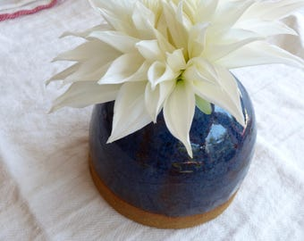 Bud Vase (3/4 Glaze- Blue Rutile and Deep Fire Brick)