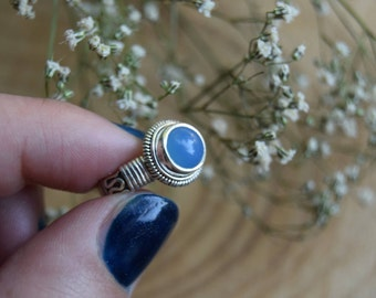 Chalcedony Ring, Sterling Silver Ring, Boho Ring, Size 6 Ring, Chalcedony Handmade Jewelry, Gemstone Ring, Gift for women, Blue ring