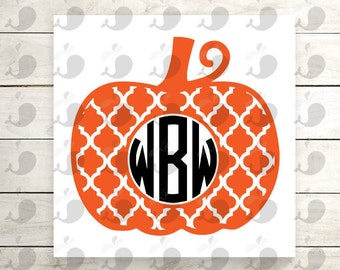 Quatrefoil Pumpkin Monogram Iron On Decal, Quatrefoil Pumpkin Monogram Heat Transfer Decal, Pumpkin Monogram Iron On Decal