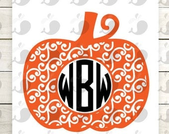 Swirly Pumpkin Monogram Iron On Decal, Pumpkin Monogram Iron On Decal, Pumpkin Monogram Heat Transfer Decal
