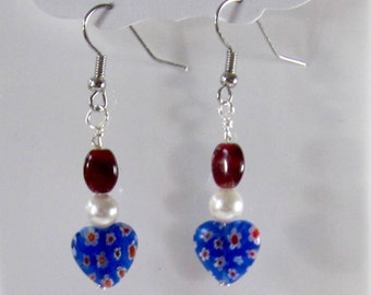 Red, White & Blue Bead Earrings - Patriotic Dangle Earrings - Veteran's Day Jewelry - Red,White, Blue Independence Day Jewelry