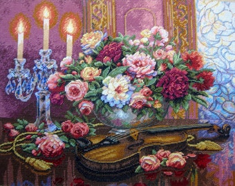 """Finished Cross Stitch Picture """"Romantic Floral""""/Completed Cross Stitch/Hand Embroidery/Home Decor/ Wall decor MADE TO ORDER"""