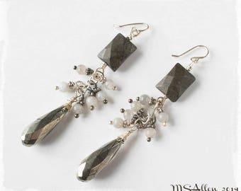 Pyrite Earrings - Labradorite Earrings - Boho Earrings - Cluster Earrings - Grey Earrings - Shiny Earrings- Long Statement Earrings