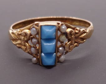 Antique Victorian Turquoise & Seed Pearl Ring