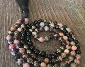 Live Your Purpose Rhodonite Mala, Self Love, Meditation Beads, spiritual jewelry, healing crystals, black onyx, lava bead, diffuser jewelry