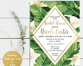 Digital file or Printed-Tropical Bridal Shower Invitation-Palm Print-Banana Leaf-Tropical Leafs Invitation- Green and Gold-Free Shipping