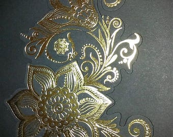 handmade black and gold decoupage card