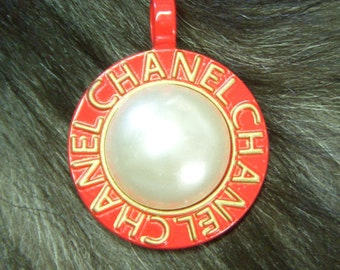 Vintage Chanel RED & Gold 3D Pearl Pendant Necklace or Large Purse Charm