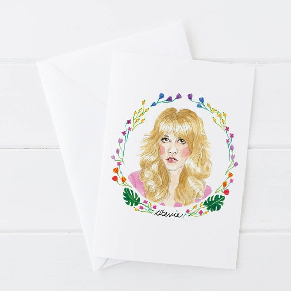 Stevie Nicks, Fleetwood Mac, Rock and Roll, Classic Rock, Watercolor Birthday Greeting Card 5x7
