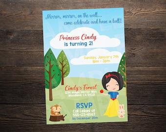 Snow White Princess Birthday Invite // Custom Birthday Invitation //  5x7 // High Resolution Digital Download JPEG & PDF