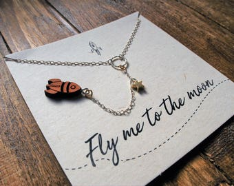 "Unique Sterling Silver ""Fly Me To The Moon"" Rocket Necklace"