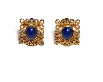 Clip On SARAH COVENTRY EARRINGS Vintage Gold Tone with Blue Stone Filigree Clip Earrings