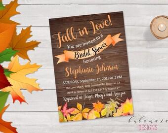 Rustic Bridal Shower Invitation Leaves Fall in Love Wood Bridal Invite Autumn Boho Bridal Invitation Orange Brown Bridal Invite - BS032