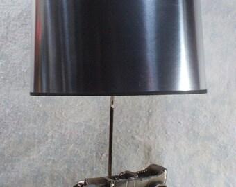 Vintage model t lamp etsy vintage table lampdesk lamp antique car desk lamp silver lamp shade mozeypictures Choice Image