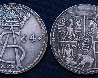 Old and Very Large Lithuanian Coin Dated 1564 - This is a Replica of a very rare coin - 40 mm / 1.6 in