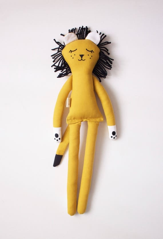 Sleeping Yellow Lion soft toy for kids: handmade with eco-friendly materials