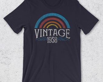 60th Birthday Gifts for Men & Women - Vintage 1958 T-Shirt- Retro -60th Birthday Gift Ideas -1958 Shirt -60th Birthday Shirt -1958 Gifts