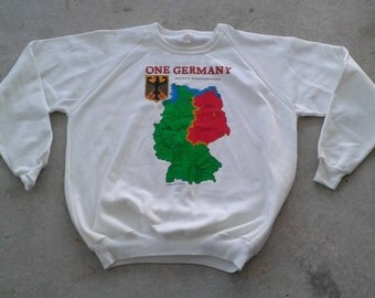 "DEADSTOCK Vintage 80's ""One Germany"" Fall of the Berlin Wall white crew-neck sweatshirt Made in Canada large"