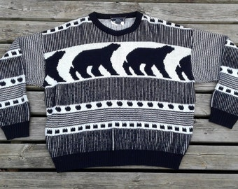 Vintage 80's Acrylic Knit Sweater Polar Bears Made by Sears in Canada large