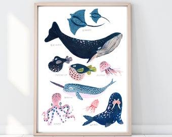 La ballena de impresión ballena Ilustración, Narwhal impresión, pez globo imprimir, impresión de arrecife, imprimir para niños, decoración para niños, arte de pared de cuarto de niños