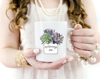 Funny Coffee Mug | Gardener Gift | Plant Lover Gift | Funny Gift | Succulent Love | Mornings Suc | Not A Morning Person | Gift for Her | Mom