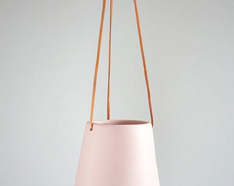 Large Hanging Planter with Leather Cord - BABY PINK