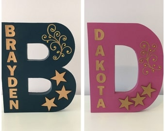 Large Wooden Decorated Letter~Freestanding~Handcrafted~Personalised Teens/Kids Name~Birthday Gift/Room Decor/Party Decoration~Gold Stars