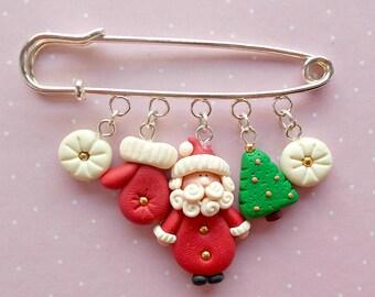 Christmas Pins - Santa Pin - Christmas Brooch -Christmas Pin - Vintage Santa - Stocking Stuffer - Secret Santa Gift - Kids Gift