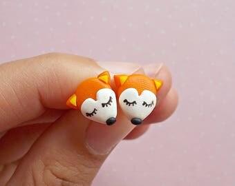 Fox Earrings - Fox Gifts - Fox Studs Earrings - Red Fox Earrings - Animal Earrings  - Gift for fox lover
