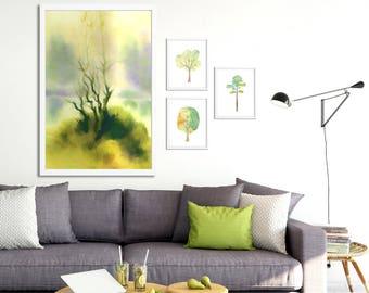 Livingroom wall art Set of 4 prints Gallery wall set of 4 Floral prints trees print Art print set Green watercolor tree set of 4 artworks