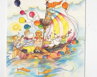 FRANK ENDERSBY, Vintage Artist Signed Postcard, A Musical Boat Ride, Medici Society