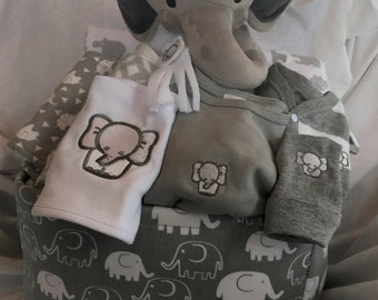 Unique baby gifts made with love by scsewingcreations on etsy elephant baby boy gift basket gray baby gift basket baby shower gift new negle Choice Image