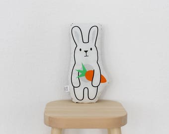 Stuffed animal – bunny with carrot – plush pillow figur rabbit